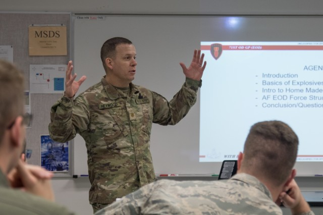 Maj. Robert Heywood, an explosive ordnance disposal officer with 71st Ordnance Group speaks to U.S. Air Force cadets during a classroom presentation at the U.S. Air Force Academy Oct. 25, 2019. Heywood shared his experiences as an EOD officer, both deployed and in garrison. (U.S. Army photo by Pfc. Matthew Marsilia)