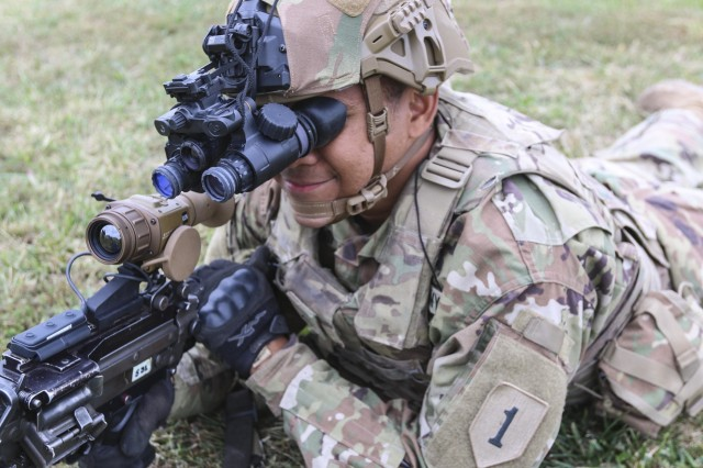 """Soldiers from the 2nd Armored Brigade Combat Team, 1st Infantry Division, are the first to receive the Enhanced Night Vision Goggle - Binocular and the Family of Weapon Sights - Individual. The """"Dagger"""" brigade received and fielded the new equipment Sept. 23 to 26. The ENVG-B and FWS-I give Soldiers the ability to see through fog, dust, and smoke. The devices increase the warfighters lethality, mobility, and situational awareness through innovative and state of the art capabilities."""