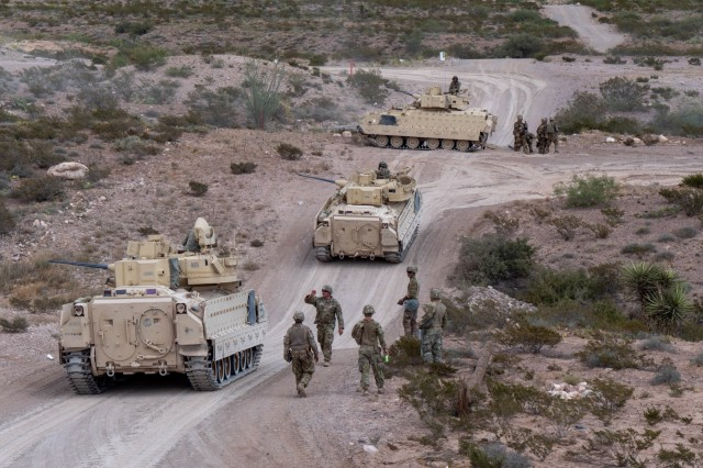 U.S. Soldiers with the 4-118th Infantry Regiment, 30th Armored Brigade Combat Team, North Carolina Army National Guard (attached to the 218th Maneuver Enhancement Brigade, South Carolina Army National Guard) conduct gunnery training with the M2A2 Bradley Fighting Vehicle at Fort Bliss, Texas in September 2019.  The 30th Armored Brigade Combat Team is mobilized for Operation Spartan Shield in the Middle East and comprised of units from North Carolina, South Carolina, Ohio and West Virginia Army National Guard.