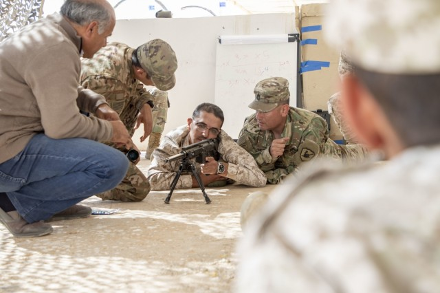 A Jordan Armed Forces-Arab Army (JAF) sniper practices setting up a firing position during a Sniper Subject Matter Expert Exchange with the Military Engagement Team-Jordan, 158th Maneuver Enhancement Brigade, Arizona Army National Guard, at a base outside of Amman, Jordan in October 2019. The United States is committed to the security of Jordan and to partnering closely with the JAF to meet common security challenges.