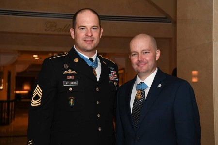 Master Sgt. Matthew O. Williams and Staff Sgt. Ronald J. Shurer II pose together after the Medal of Honor Ceremony at the White House in Washington, D.C., Oct. 30, 2019. Both received the Medal of Honor for actions with the Special Forces Operational Detachment Alpha 3336, Special Operations Task Force-33, in support of Operation Enduring Freedom in Afghanistan on April 6, 2008.