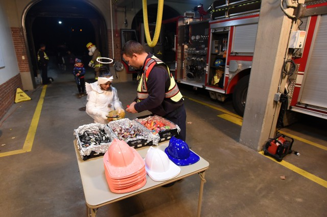An angel arrived at Fire Station 1 to partake in the candy grab Oct. 31, 2019. Firefighters also passed out junior firefighter hats.