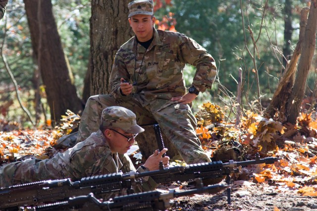 Staff Sgt. Jorge Martinez, a noncommissioned officer at the 10th Mountain Division Light Fighter School, grades pre-Ranger student, 2nd Lt. Thomas Bond, 1st Battalion, 32nd Infantry Regiment, 1st Brigade Combat Team, 10th Mountain Division, Oct. 31, Fort Drum N.Y..