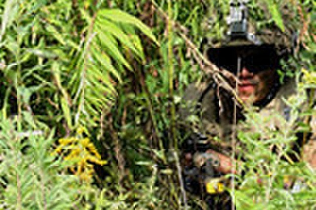A 10th Mountain Division Soldier pull patrol Oct, 31, Fort Drum, N.Y.