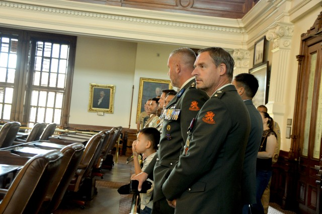 During their Field Study Program, the International Military Students toured the Texas State Capitol Building, October 23, 2019. The students tour began in the rotunda, where they received information on the history of Texas, the tour ended with more history lessons in Texas House of Representatives and the Senate Chambers.