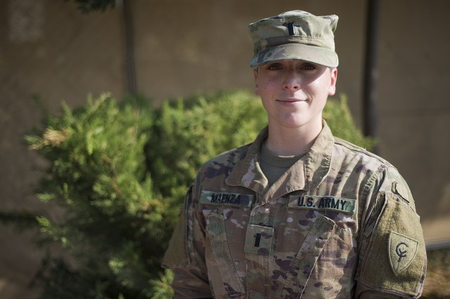 Indiana National Guard 1st Lt. Nicole Maenza, a 38th Infantry Division transportation officer from Aurora, Illinois, poses for a photo while serving in the Middle East supporting Task Force Spartan, Wednesday, Aug. 28, 2019. Maenza is one of more than 600 38th Infantry Division soldiers who departed the Hoosier State in May to support Operation Spartan Shield in the Middle East by providing command, control and in-depth staff analysis for approximately 9,500 U.S. service members. Task Force Spartan helps maintain a U.S. military posture among allied nations to strengthen defense relationships, build partner capacity and deter regional aggression.