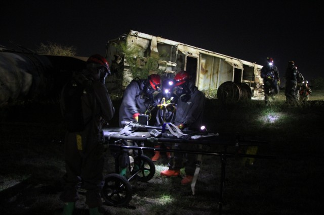 Soldiers from the 3rd Platoon, 68th Engineer Company from Fort Hood, TX gather Chemical, Biological, Radiological and Nuclear detection equipment to survey an area during a two-day training and certification exercise at the San Antonio Firefighter Training Facility in San Antonio, Texas on October 22 - 23, 2019.