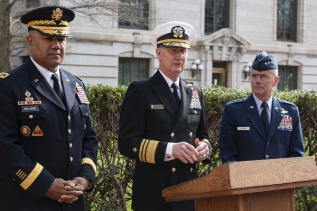 Superintendents from each of the nation's military academies addressed media members on the importance of preventing incidents of sexual assault and sexual harassment. From left, Lt. Gen. Darryl Williams, superintendent of the U.S. Military Academy at West Point; Vice Admiral Walter Carter Jr., Naval Academy superintendent; and Air Force Lt. Gen. Jay Silveria, Air Force Academy superintendent. The generals took part in the National Discussion on Sexual Assault and Sexual Harassment at America's Colleges, Universities and Service Academies, April 4-5, at the Naval Academy.