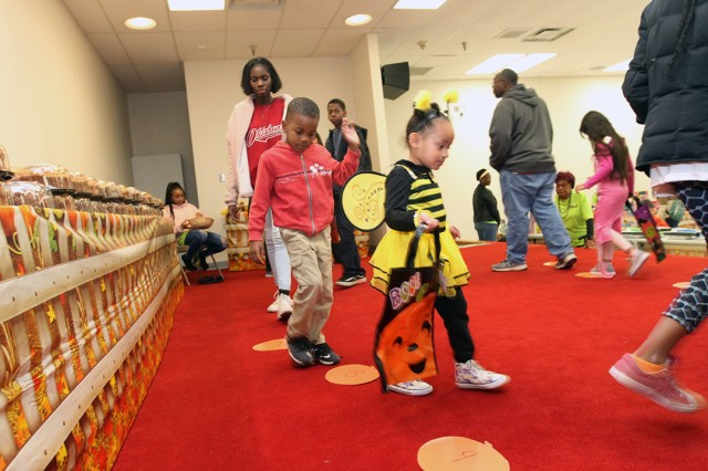 Children participated in the cake walk game during the Hallelujah Harvest Oct. 31, 2019, at the Fort Sill Frontier Chapel Center. The free annual Halloween alternative was sponsored by the chapel's Gospel Congregation.