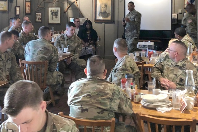 Col. Maurice Barnett, 30th Air Defense Artillery Brigade commander, talks to his Soldiers about the importance of spiritual readiness and resilience during the unit's prayer breakfast Oct. 23, 2019, in Lawton, Oklahoma.