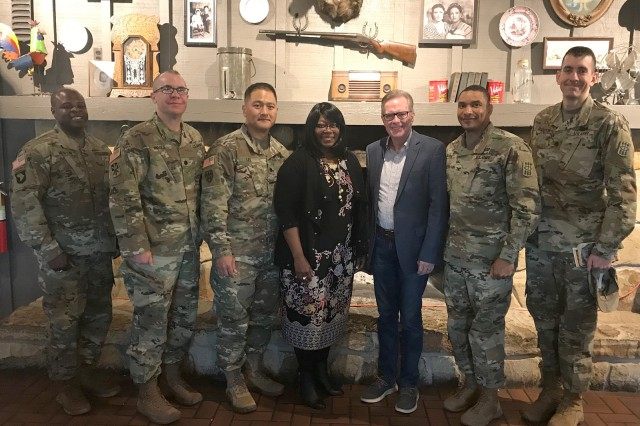 From left, Chaplain (Maj.) Willie Newton Jr.; Lt. Col. Bradley Hayes, 30th ADA deputy commander; Lt. Col. Cedric Lee, 2nd Battalion, 6th ADA commander; Paulette Anderson, Reynolds Army Health Clinic ombudsman; Don Barnes, Lawton First Assembly senior pastor; Col. Maurice Barnett, 30th ADA Brigade commander; and Lt. Col. Joseph Scott, 3rd Battalion, 6th ADA commander, pose for a photo at the 30th ADA Brigade resiliency prayer breakfast.