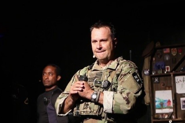 """Lt. Col. (ret) Scott Mann using his story telling ability in the production """"Last Out...Elegy of a Green Beret."""" October 2019. (Photo courtesy Scott Mann)"""
