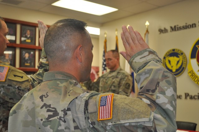 Fort Shafter Flats, Hawaii - Brig. Gen. Timothy Connelly, Commanding General of the 9th Mission Support Command, administered the Inspector General Oath on Nov. 1, 2019 to the 9th MSC IG team, signifying the importance of the special relationship between the 9th MSC CG and 9th MSC IG.