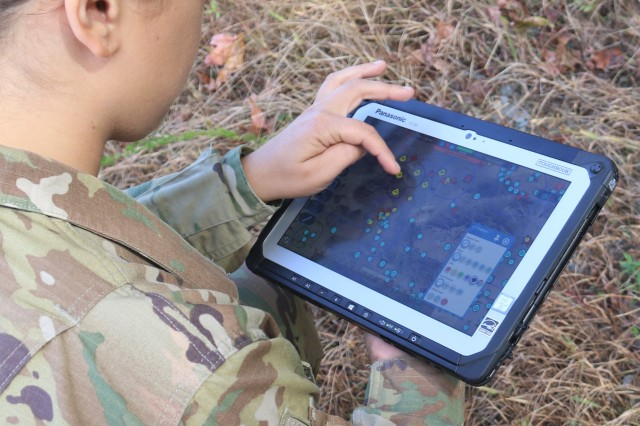 C5ISR Center enlisted adviser Sgt. Keila Peters tests the Tactical Computing Environment software application at Aberdeen Proving Ground, Md., in October 2019.