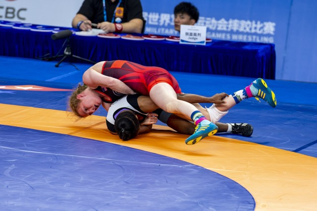 Staff Sgt. Whitney Conder with the U.S. Armed Forces Wrestling Team competes against Nada Ashour of Egypt in the 50 kg. weight class at the Military World Games in Wuhan, China, Oct. 22, 2019. Conder prevailed 11-0 and earned a silver medal in the games.