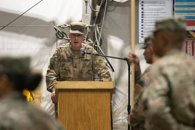 Maj. Gen. John P. Sullivan, 1st Theater Sustainment Command commanding general, makes remarks at the Resolute Support Sustainment Brigade transfer of authority ceremony at Bagram Airfield, Afghanistan, Nov. 1, 2019. The 1st Armored Division RSSB is now the lead sustainment unit for the NATO-led Resolute Support mission to train, advise and assist Afghanistan's security-related ministries, the country's institutions, and the senior ranks of the Afghan army and police (U.S. Army photo by Sgt. Sean Harding)