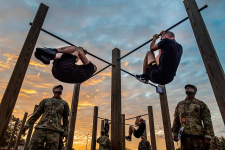 The top command sergeants major from across the U.S. Army Reserve perform the leg tuck for a practice Army Combat Fitness Test at Fort Eustis, Va., Oct. 25, 2019, during the Army Reserve Senior Enlisted Council. The council is a three-day event hoste...