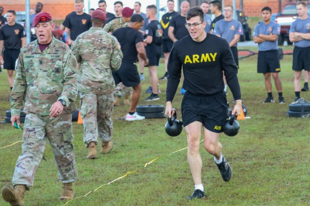 U.S. Army Paratroopers assigned to the 82nd Airborne Division Artillery compete in an Army Combat Fitness Test during the Best of the Best Competition on Fort Bragg, North Carolina, Oct. 21, 2019. The DIVARTY held the Best of the Best Competition to distinguish the best section and team in the Division, instill esprit de corps across the fires enterprise, and reward Paratroopers who achieved the highest standards. All Battalions of the Division's 319th Airborne Field Artillery Regiment have deployed in support of operations in Iraq and Afghanistan over the past three years, producing the most combat-tested and experienced artillery organization in the U.S. Army today. (U.S. Army photo by Sgt. 1st Class Jason Hull)