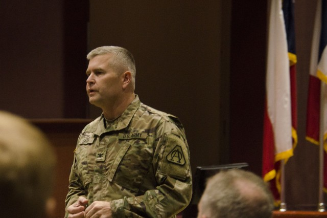 Col. Robert Barrie, military deputy to the Program Executive Officer, addresses the PEO 101 participants on the first day of the event. The purpose of PEO Aviation 101 was to familiarize new PEO Aviation team members with the U.S. Army, the Army Aviation enterprise, and how PEO Aviation supports the Soldier.