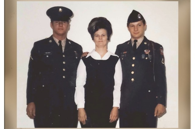 John Furchert (left) visits with his mom and brother after completing Army basic training in August 1972. After 16 years on active duty, he continues to serve his country as an Army civilian at Aberdeen Proving Ground, Maryland. (U.S. Army photo)