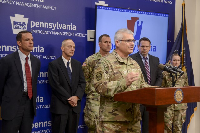 Air Force Maj. Gen. Anthony Carrelli, Pennsylvania's adjutant general, speaks at a press conference Nov. 5 at Pennsylvania Emergency Management Agency (PEMA) regarding approximately 30 members of the Pennsylvania National Guard who joined other state agencies at three locations Nov. 5 to ensure the security of the commonwealth's general election. A team at PEMA focused on network monitoring, while teams at Fort Indiantown Gap and Horsham Air Guard Station focused on social media reporting.
