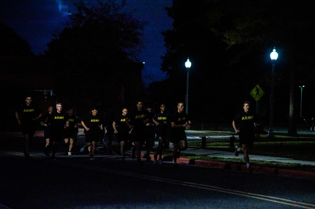 Officers and Noncommissioned Officers from Joint Force Headquarters-National Capital Region and the U.S. Army Military District of Washington participate in the Army Combat Fitness Test (ACFT) during the Company Commander and First Sergeant Course (CCFSC) on Joint Base Myer-Henderson Hall, Virginia, October 30, 2019. The week-long training event was dedicated to developing leadership skills through physical training, classroom instruction, and mentorship by senior leaders.