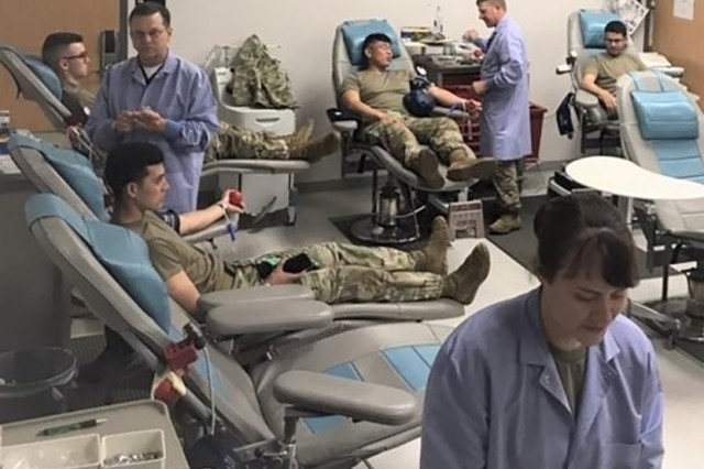 Soldiers from the 554th Engineer Battalion, Company B, donated 100 units of blood to the Armed Services Blood Program Oct. 15 at the Fort Leonard Wood Blood Donor Center.