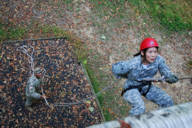 U.S. Army Combat Capabilities Development Command's Army Research Laboratory Greening Course participant Dr. Sanchao Liu participates in the rappel tower challenge during the five-day course held at Aberdeen Proving Ground, Maryland, that is designed for Army civilians to live the life and challenges of a Soldier.