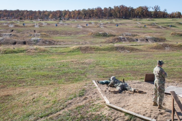 Cadet Joseph Bienfang of Iowa State University lies prone and aims at targets downrange during the M4 rifle qualification event at Range 3 Nov. 1.