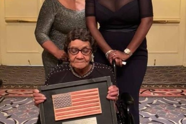 Maybelle Campbell and her daughter, Melody Campbell (left), and granddaughter, Matish Campbell Simms, attend the American Veterans Center's American Valor: A salute to our heroes at the Omni Shoreham Hotel in D.C. on Oct. 26.
