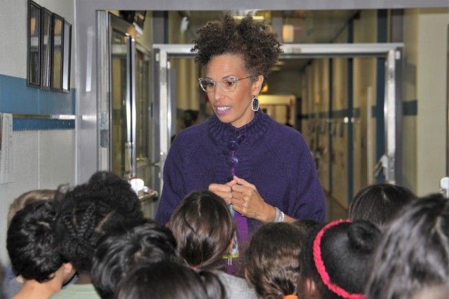 Dr. Michelle Woodfork, Smith Elementary School principal, talks to her students in Baumholder Military Community. Woodfork was an assistant principal in Baumholder from 2009 to 2011 and returned in 2019 as principal following an assignment at Ramstein Middle School.