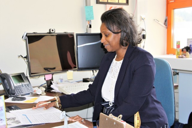 Leah Zamor, Baumholder Middle High School principal, completes daily work at her desk. Zamor just began her third school year as the BMHS principal. Prior to that, she was the Kaiserslautern Middle School assistant principal from 2011 to 2017.
