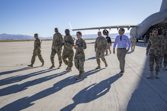 Lt. Gen. R. Scott Dingle, the Surgeon General of the U.S. Army, and other Army medical leaders exit a C-17 used for aeromedical evacuations at Amedee Army Airfield, California, during the United States Forces Command Medical Emergency Deployment Readiness Exercise Distinguished Visitor Day, Nov. 4, 2019. Dingle and other distinguished visitors received a tour of the field hospital, the exercise control tent, the Effects & Enablers facility as well as a C-17 used for aeromedical evacuations.