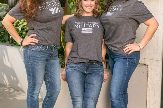 Three military spouses, Maria Reed an Army spouse, Samantha Gomolka, a National Guard spouse, and Jessica Manfre, a Coast Guard spouse visit Los Angeles, Calif., Nov. 6, 2019, to promote their online movement called GivingTuesday Military Edition. They were all 2019 Armed Forces Insurance Military Spouse of the Year recipients for their respective branch. The viral campaign hopes to inspire more than one million acts of kindness and document them online with #givingtuesdaymilitary to inspire others to do similar goodwill acts.
