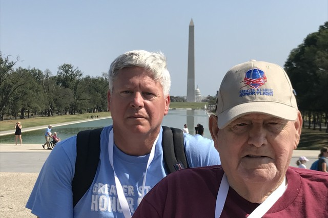 Jim Muskopf, an Army civilian employee at the U.S. Army Aviation Center of Excellence G-5 office, and his father Alvin Muskopf, a Korean War veteran, participate in an Honor Flight to the Nation's Capital Oct. 1.