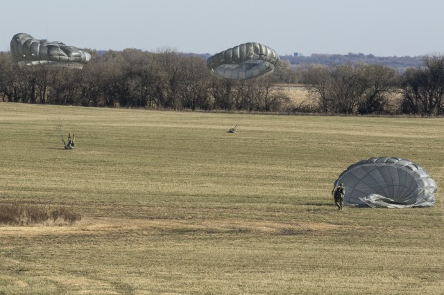 The Nebraska Army National Guard conducted an activation ceremony for its new infantry unit followed by an airborne training exercise, Nov. 2, at the Husker Drop Zone near Yutan. The newly activated 2nd Battalion, 134th Infantry Regiment will receive personnel reassigned from other units in the state, as well as new recruits and Soldiers who have recently completed basic and advanced individual training.