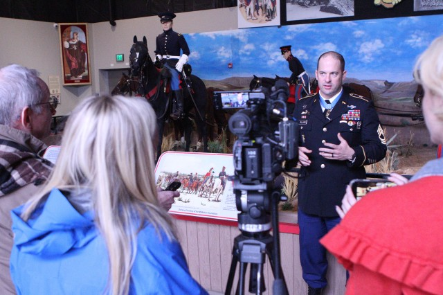 Medal of Honor recipient Master Sgt. Matthew Williams speaks to local reporters Nov. 7, 2019, at the Army Field Artillery Museum at Fort Sill, Okla. While here Williams spoke with civic and military leaders and high school students in Oklahoma City, Edmond, and Lawton.