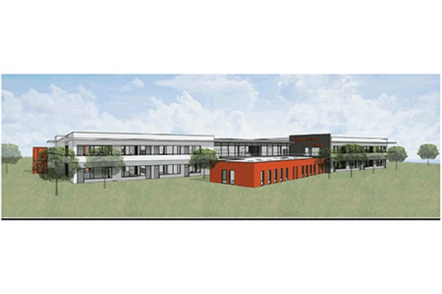 An artist rendition of the new Grafenwoehr Elementary School. U.S. and German officials gathered here Nov. 7 to clink glasses in a major milestone toward completion of the new Grafenwoehr Elementary School. The school is scheduled to open for the 2021-2022 school year in August 2021.