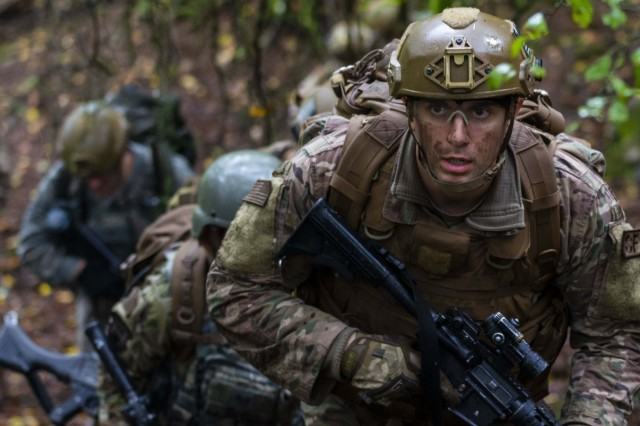 Air Force Staff Sgt. Gaberial Solazzo, 701st Munitions Support Squadron, leads a dismounted patrol at Baumholder, Germany Oct. 9, 2019. The airmen practiced mounted and dismounted patrol tactics, and reaction procedures to indirect fire and improvised explosive devices during a four-day exercise.