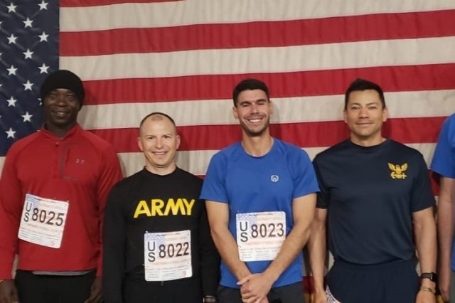 The FEST-A team gets some physical fitness in while participating in a 10K run on Bagram, Airfield Afghanistan.