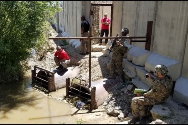 The 553rd Forward Engineering Support Team-Advanced (FEST-A), Area Support Group (ASG), and Task Force Warrior, along with USACE Huntsville work on finding a low-cost solution to flooding issues on Bagram Airfield.