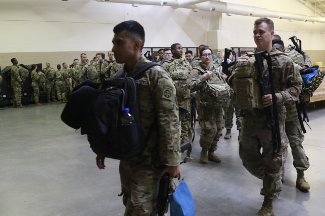 U.S. Army Soldiers from 1st- 82nd Attack Reconnaissance Battalion, 82nd Combat Aviation Brigade, 82nd Airborne Division, Fort Bragg, deploy to the United States Central Command Area of Operations (CENTCOM).  Grey Eagles deploy to support CENTCOM operating environment which umbrellas Operations Inherent Resolve and U.S. Military Training Missions committed to working with and through regional partners to increase regional stability. (Photo by Army Staff Sgt. Sharon Matthias)
