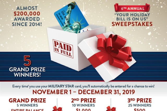 The Army & Air Force Exchange Service, with vendor partners, is giving military shoppers the chance to win more than $25,000 in prizes this holiday season in three military-exclusive sweepstakes now through Dec. 31, 2019.