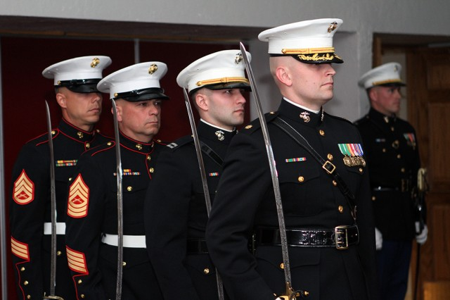 Marines stand ready for the adjutant's call during the birthday celebration Nov. 9, 2019, at the Patriot Club.
