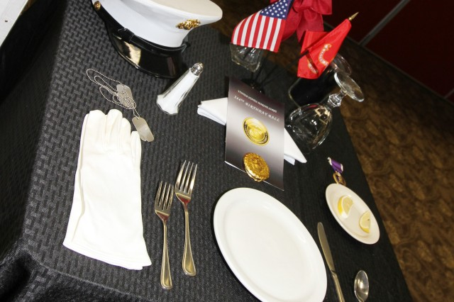 An empty table sits in the Patriot Club ballroom Nov. 9, 2019, during the birthday celebration as a remembrance to the valiant sacrifices of fallen Marines.