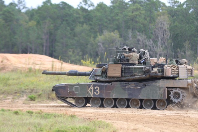 Soldiers with the 1st Armored Brigade Combat Team, 3rd Infantry Division, operate an M1 Abrams tank in preparation for the 3rd ID's annual Marne Focus exercise Oct. 7, 2019 at Fort Stewart, Ga. The 1st ABCT participated in the exercise to test headquarter battle systems in preparation for a U.S. Army Combat Training Center rotation at the National Training Center at Fort Irwin, Calif. (U.S. Army photo by Sgt. Daniel Guerrero)