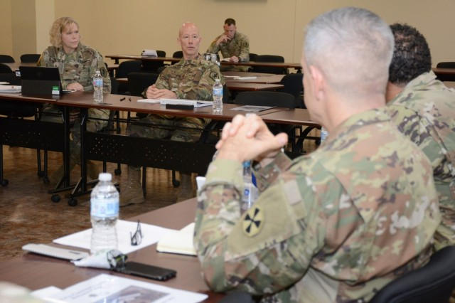 Maj. Gen. Joseph Calloway, U.S. Army Human Resources Command, commanding general, gives a briefing to officers and NCOs selected to be the Army's newest Human Resources leaders during the Adjutant General Pre-Command course conducted at Fort Knox, Kentucky, Oct. 28 - Nov. 1