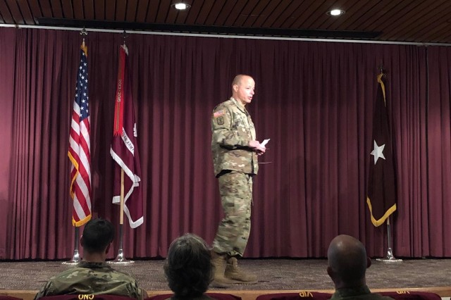 Brig. Gen. Jack Davis, deputy commanding general, Regional Health Command-Pacific delivered an important message during an Army Nurse Corps townhall, Nov. 6, at Madigan Army Medical Center. Over 600 audio lines, 30 video conferencing lines, and people on a live Facebook stream, dialed-in to hear him speak during the townhall.