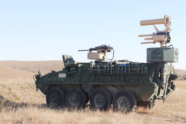 A modified Stryker combat vehicle sits at the Thompson Hill Range Complex Nov. 4, 2019, during MFIX 20. It featured a drone detection and identification system, and .30-caliber machine gun to destroy drones.
