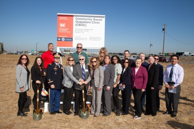 Members of the U.S. Army Corps of Engineers gather for a photo during a Nov. 8, 2019, ceremonial groundbreaking in French Camp, Calif., where USACE will build the Veterans Affairs Central Valley Community Based Outpatient Clinic.Col. James Handura, USACE Sacramento District Commander, and Cheree Peterson, Programs Director for USACE's South Pacific Division, joined VA leaders, members of Congress and many veterans from the Stockton community to celebrate the event and thank military veterans for their service.Conveniently located next to San Joaquin General Hospital, the project includes construction of the 158,000 square foot clinic, as well as a 150,000 square foot, 120-bed Community Living Center, and an Engineering Logistics Building. All three are scheduled to be completed in 2022.The Corps of Engineers has a longstanding strategic partnership with VA, since our historic assistance with major hospital construction projects after World War II. (U.S. Army photo by Ken Wright)